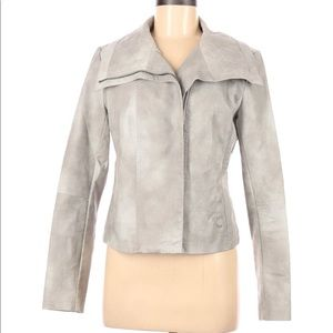 COLLECTION B Gray Vegan Leather Moto Jacket MEDIUM